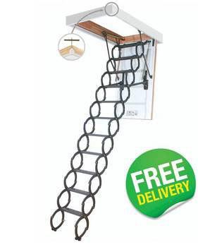 Metal Scissor Loft Ladder inc Metal Frame - LSZ