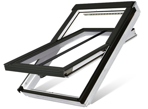 White acrylic centre pivot roof window