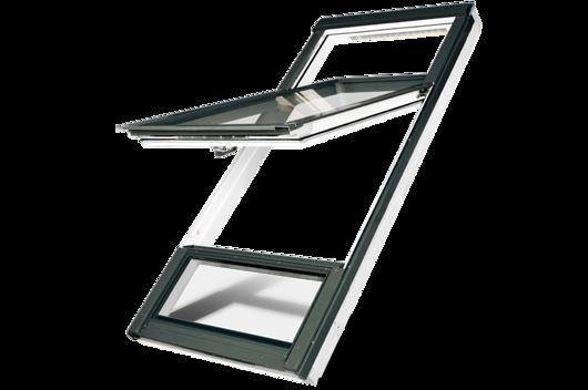 High pivot white polyurethane roof window